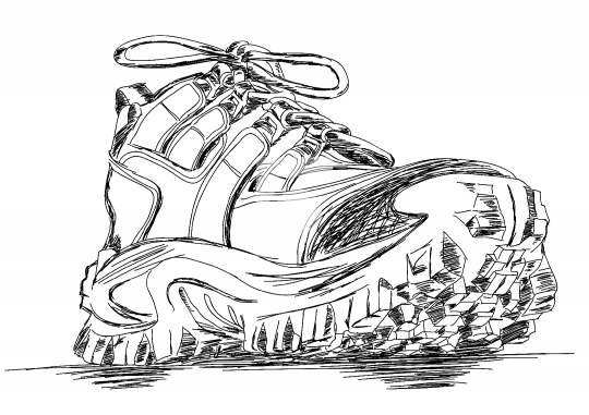 Tough Trekking Shoes Vector Doodle Illustration