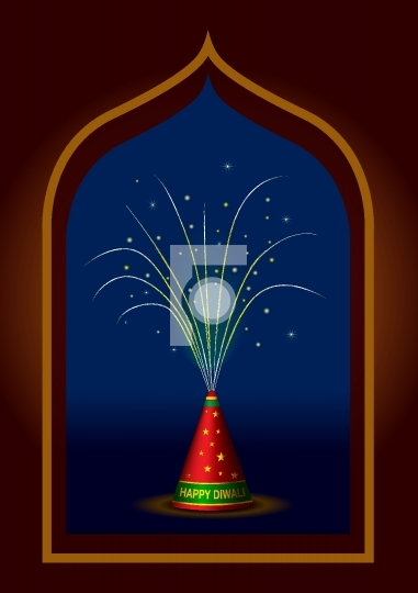 Traditional Indian Diwali fireworks vector illustration