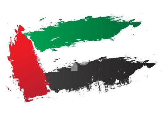 UAE Flag Vector Brush Strokes - United Arab Emirates