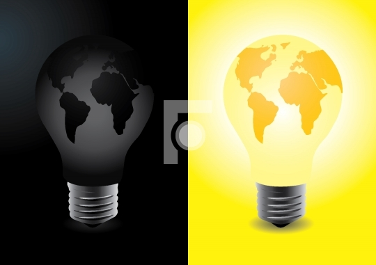 World in the shape of bulb, one lit and one off